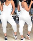 Fashion V Neck Pocket Design One-piece Jumpsuits