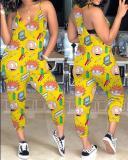 Fashion Cartoon Printed Sling Jumpsuit