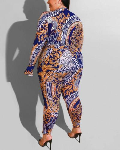 Tribal Print V Neck Plus Size Jumpsuit