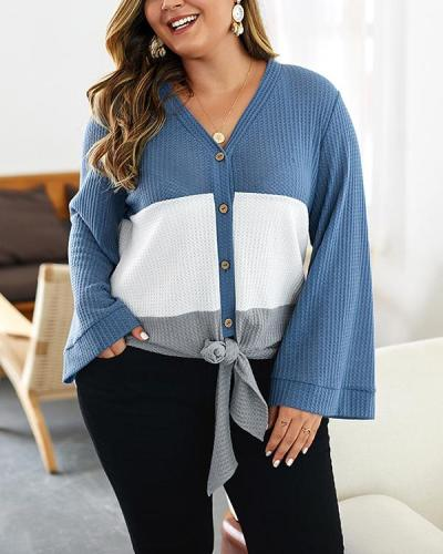 Plus Size Stitching Loose Sweater