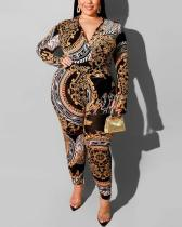 Tribal Print V Neck Plus Size Jumpsuit