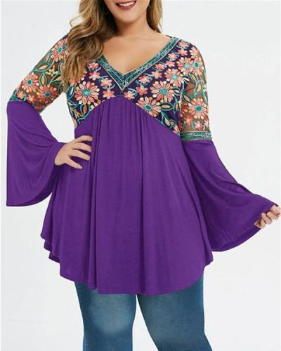Plus Size Embroidered Plunge Flare Sleeve Top