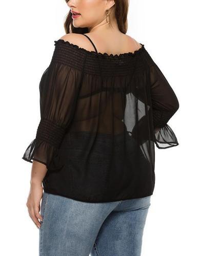 Mesh Chiffon One-shoulder Top Shirt