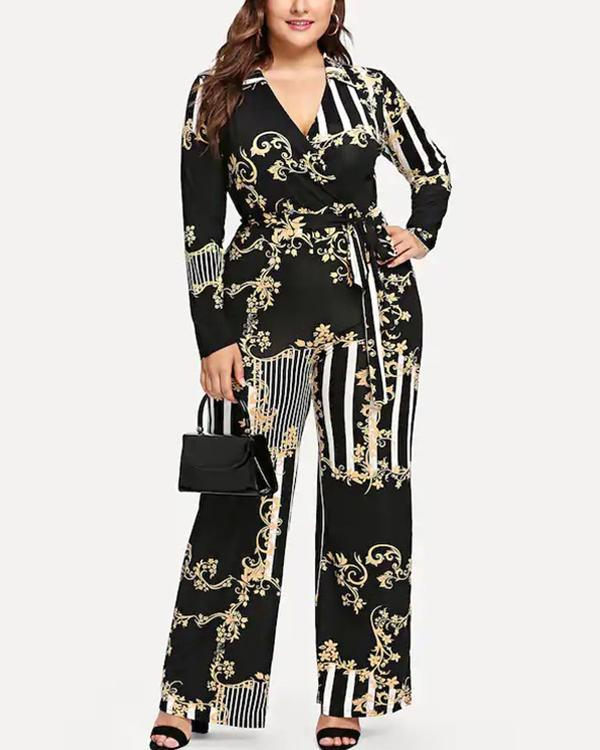 Deep V Printed Trousers Lace-up Jumpsuit