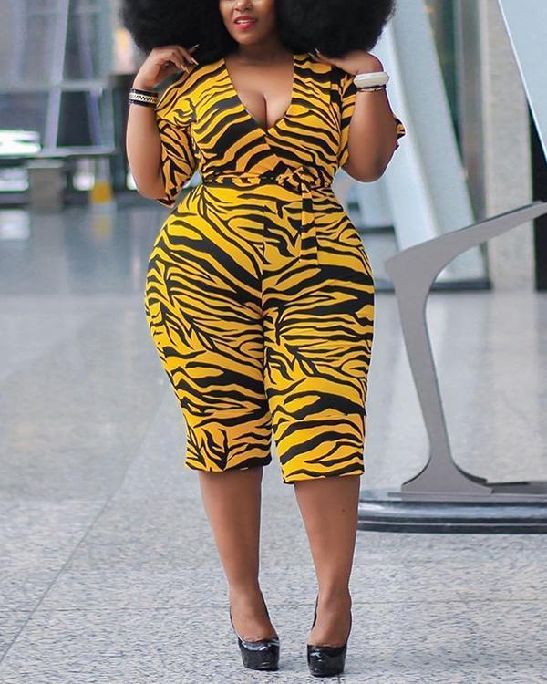 Plus Size Stripe Print Knee Length Skinny Women's Jumpsuit
