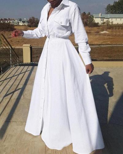 Plus Size Solid Color Elegant Commuter Shirt Dress