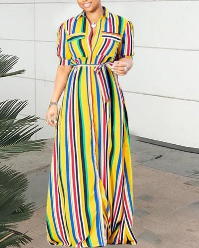 Casual Color Stripe Print Long Shirt Dress