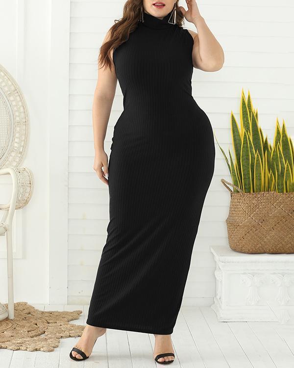 Sleeveless High Waist Long Dress Pit Striped Dress