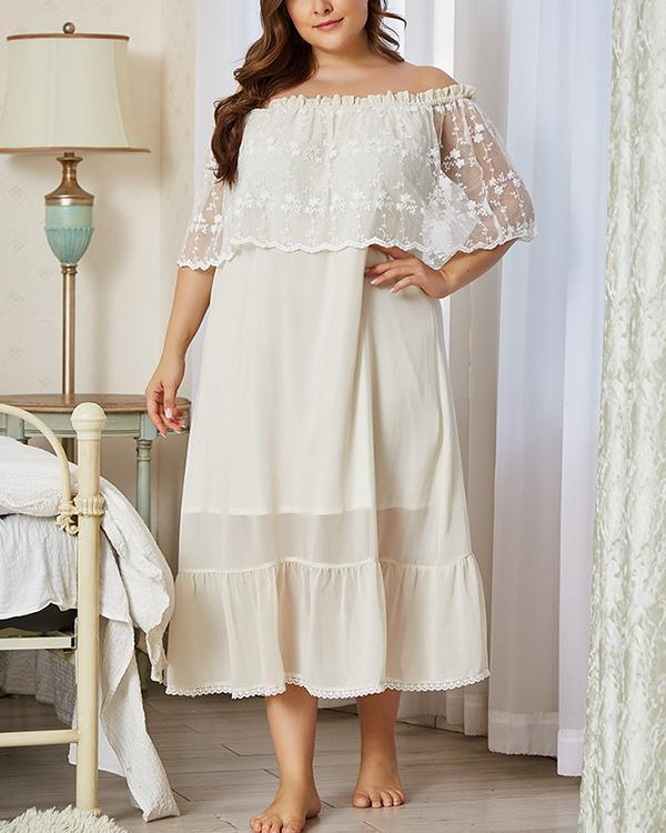 Plus Size Solid Tunic Off the Shoulder Shift Dress