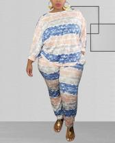 Striped Printing Loose Fashion Casual Plus Size Two-piece Suit