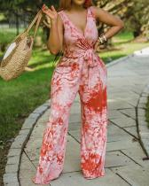 Tie-dye Sexy V-neck Tie Bow Plus Size Wide-leg Jumpsuit