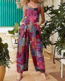 Plus Size Loose Ethnic Print Straps Pockets Vintage Jumpsuit For Women