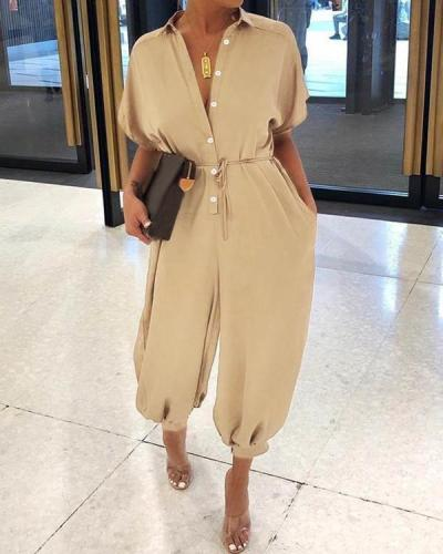 Solid Color Fold-Over Collar Single-Breasted Short-Sleeved Jumpsuit