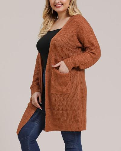 Large Pocket Knitted Sweater Mid-length Coat