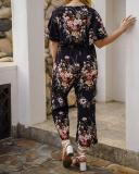 Printed Elastic Waist Plus Size Jumpsuit