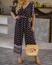 Fashion V-neck Printed Fit One-piece Plus Size Jumpsuit