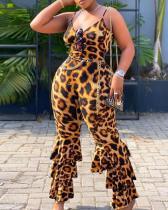 Leopard Western Full Length Slim Bellbottoms Jumpsuit