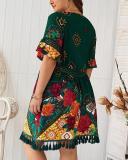 V-neck Printed Bohemian Dress