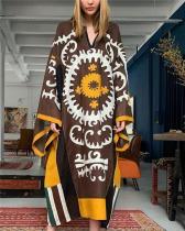 V-Neck Print Loose Straight Linen Dress