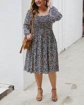 A-Line Long Sleeve Floral Print Dress