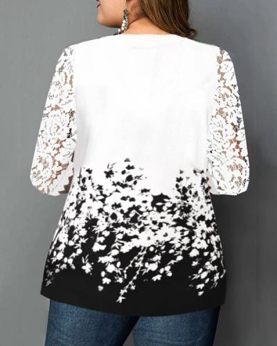 Plus Size Floral Print Lace Panel T Shirt