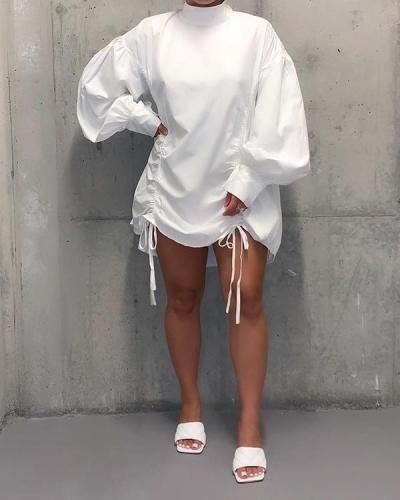 Casual Half A Turtleneck Fold Design Mini Plus Size Dress