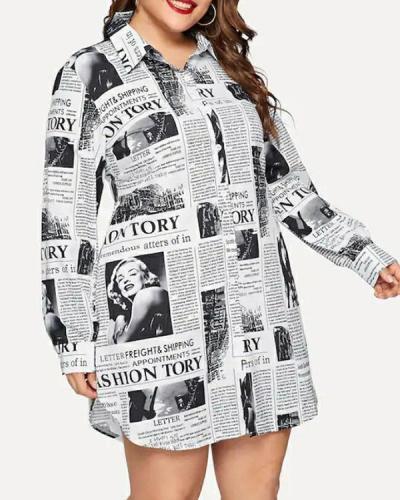Long Sleeve Geometric Print Plus Size Shirt Dress
