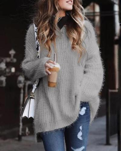 Casual Solid Warm Loose Sweaters