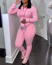 Sexy Polyester Solid Pants Zipper Collar Plus Size Set