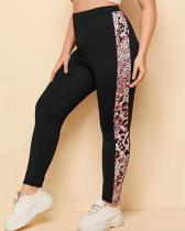 Plus Size Black Leopard Patchwork Pants