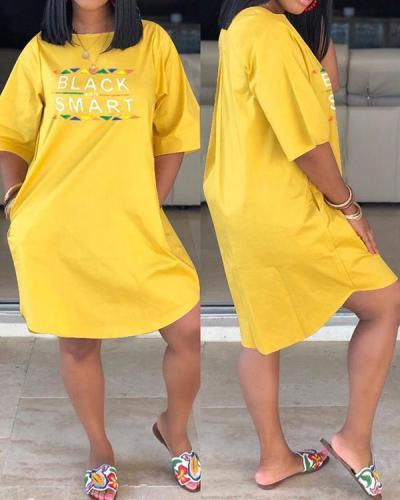 Letter Print Plus Size Casual Dress