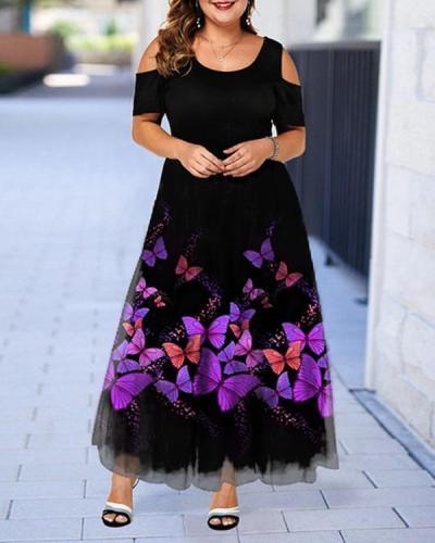 Plus Size Casual Floral Round Neckline Midi X-line Dress