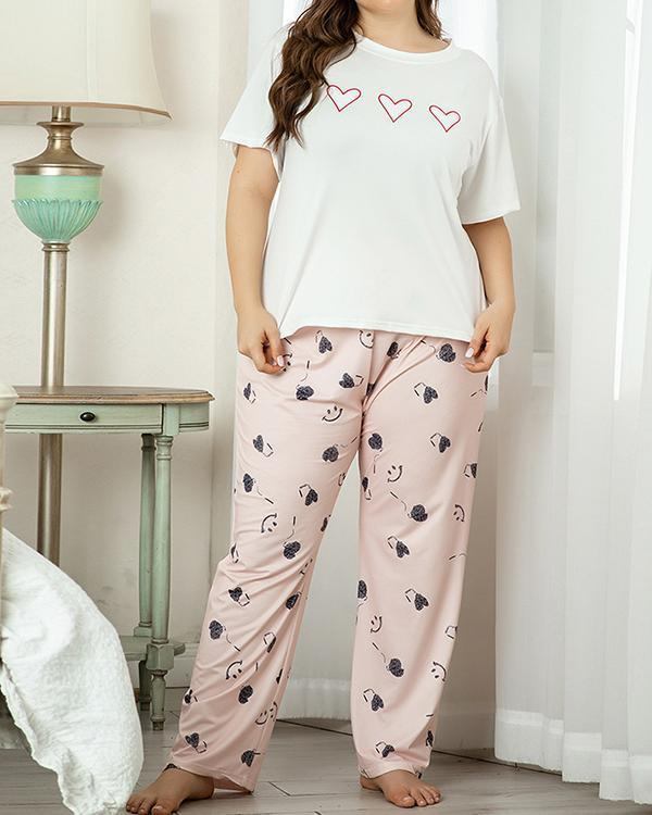 Plus Size Crew Neck Print Short Sleeves Sleepwear Set