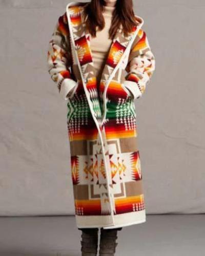 Women's Winter Casual Print Long Coat