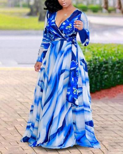Plus Size Print Long Sleeves Maxi Vacation Dress