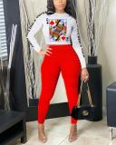 Two-piece Printed Casual Sports Suit