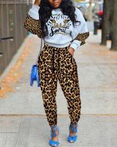 Leopard Print Two-piece Set Long Sleeve Suit