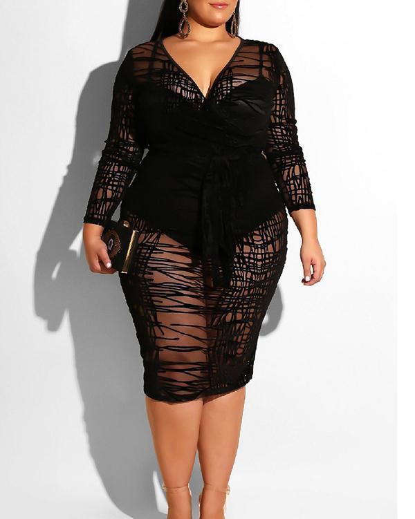 Long Sleeve Flocking Lace Sheer Sexy Dress