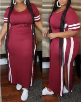 Plus Size Side Slit Short Sleeve Dress