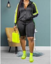 Plus Size Color Block Splicing Zipper Long Sleeve Top With Solid Casual Shorts Set
