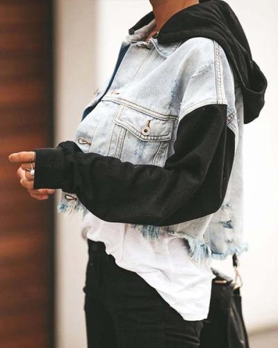 Cozy Denim Contrast Hooded Jacket