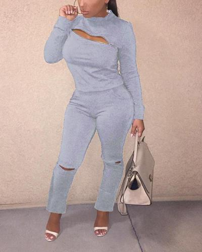 Hollow Out Zipper Long Sleeve Top & Pants