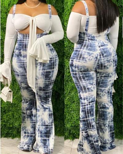 Fashion Casual Tie Dye Print Plus Size Sling Wide Leg Pants