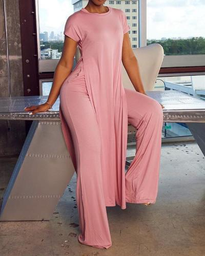 Simple Solid Color Slit Tunic & Pants Set