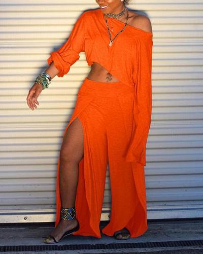 Fashion Solid Crop Top & Slit Pants Set