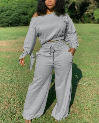 Solid Sweatshirt & Wide-Leg Pants Set