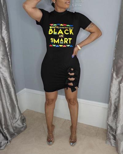 Casual Letter Print Black Mini Plus Size Dress
