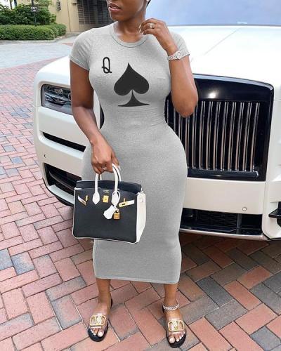 Casual O Neck Print Black Mid Calf Plus Size Dress
