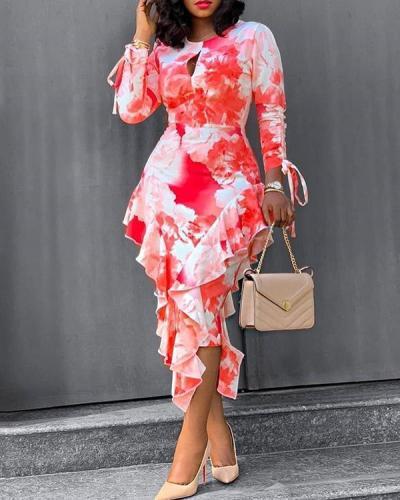 Tie Dying Print Ruffled Hip Dress