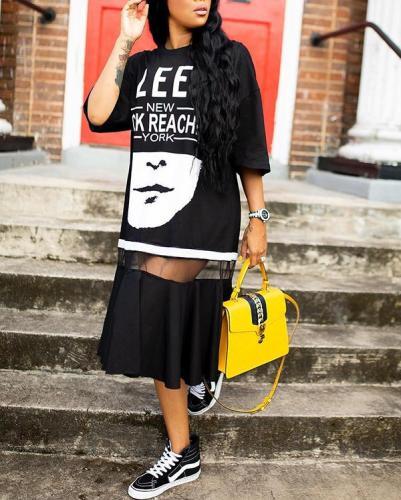 Sheer-Combo Printed Dress
